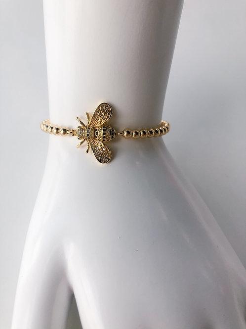 Jocelyn Kennedy Gold Beaded Large Crystal Bee Bracelet