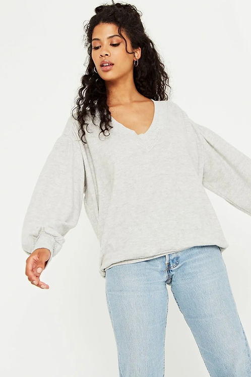 Project Social T The Distance Between Cozy V Neck Sweater Grey