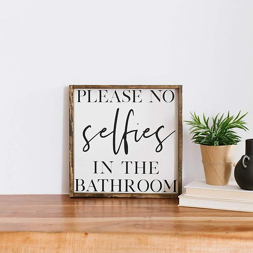 William Rae No Selfies Sign Dark Walnut Frame