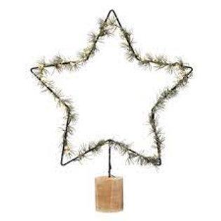LED & Faux Lit Pine Wrapped Star
