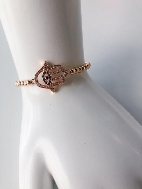 Jocelyn Kennedy Rose Gold Beaded Crystal Hamsa Hand Bracelet