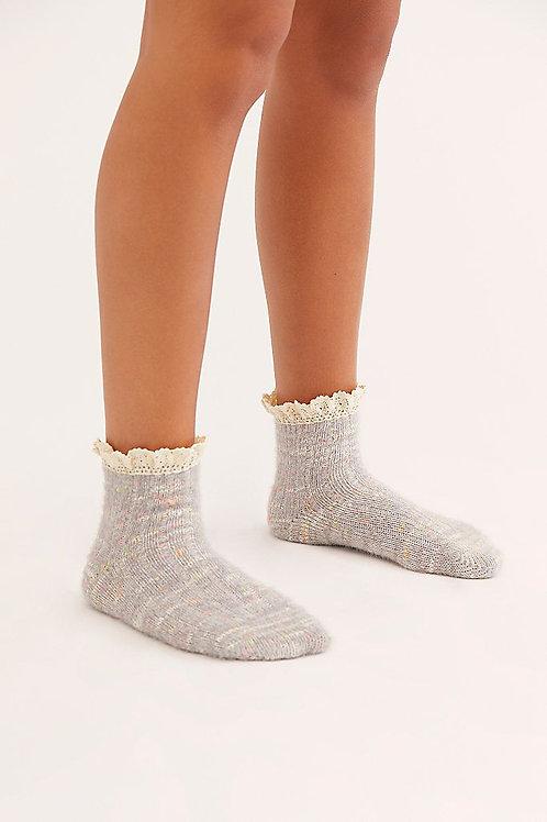 Free People FireCracker Flecked Ruffle Socks Grey