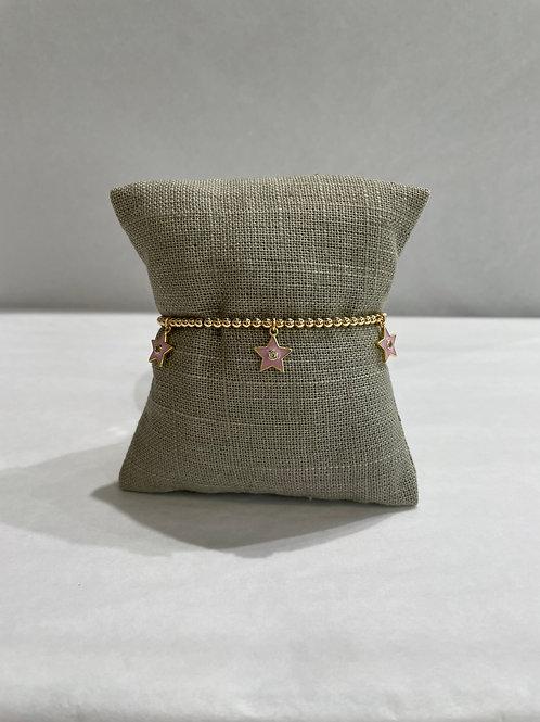 Jocelyn Kennedy Gold Enamel Bracelet: Pink Charms