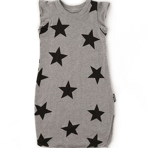 nununu Grey Ruffled Star Lounge Dress
