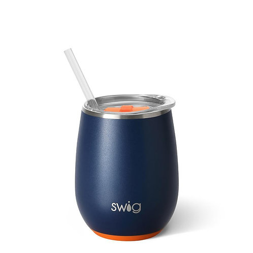 Swig Matte Orange & Navy Stemless Wine Cup