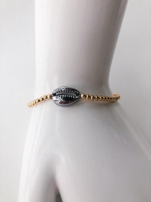 Jocelyn Kennedy Gold Beaded Gunmetal Shell Bracelet