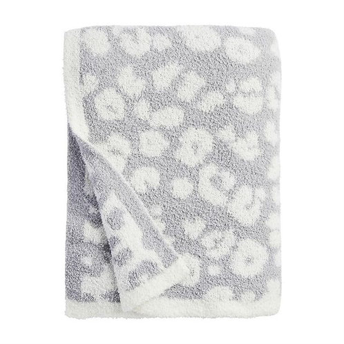 Leopard Throw Blanket- Gray