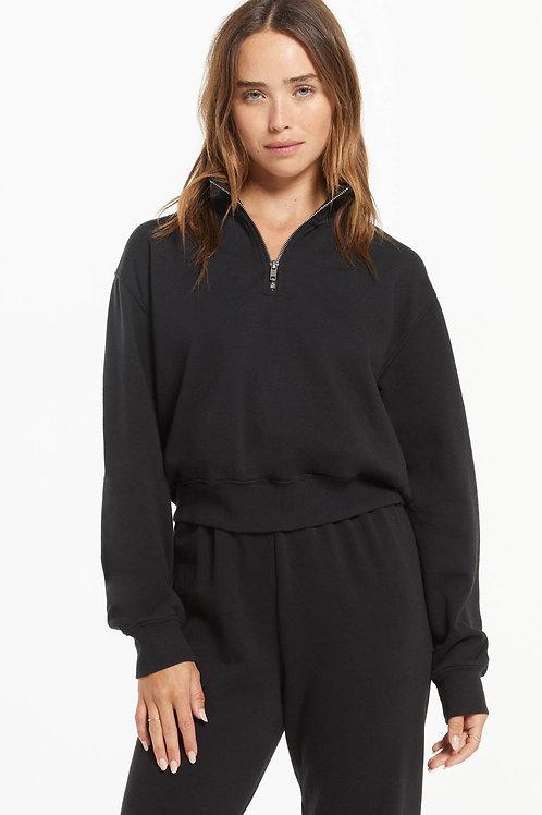 Z Supply Half Zip Sweat Shirt- Black