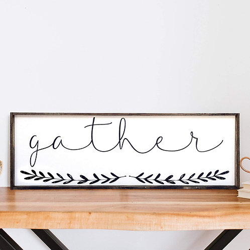 William Rae Gather Wood SIgn Dark Walnut Frame