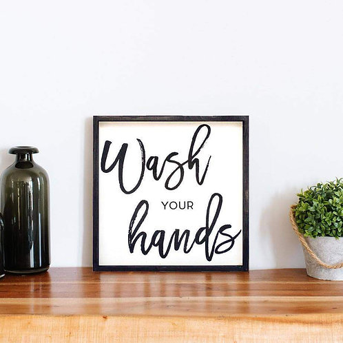 William Rae Wash Your Hands Sign Ebony Frame