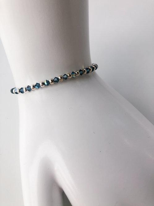 Jocelyn Kennedy Silver Bead And Blue Crystal Bracelet