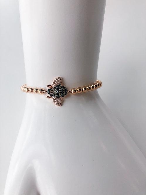 Jocelyn Kennedy Rose Gold Crystal Bee Bracelet