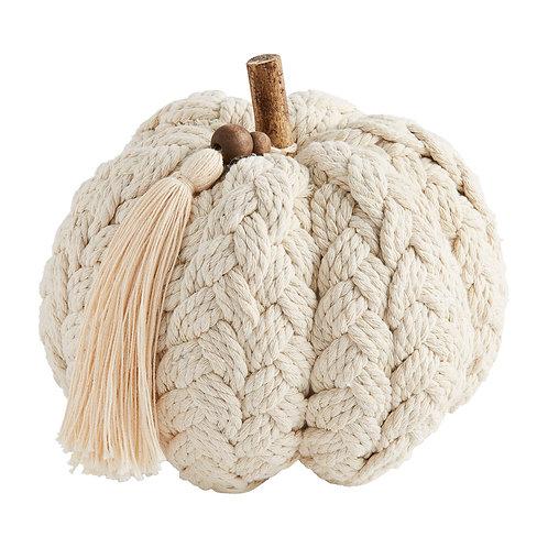 Mudpie Cream Braided Large Pumpkin