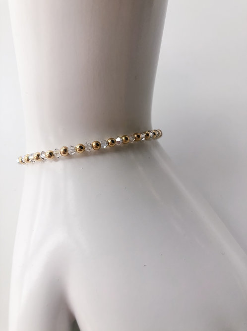 Jocelyn Kennedy Gold Bead and Clear Crystal Bracelet