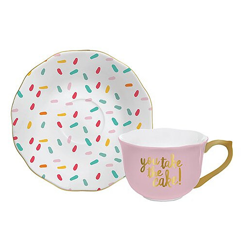 Tea Cup & Saucer Set- Take The Cake