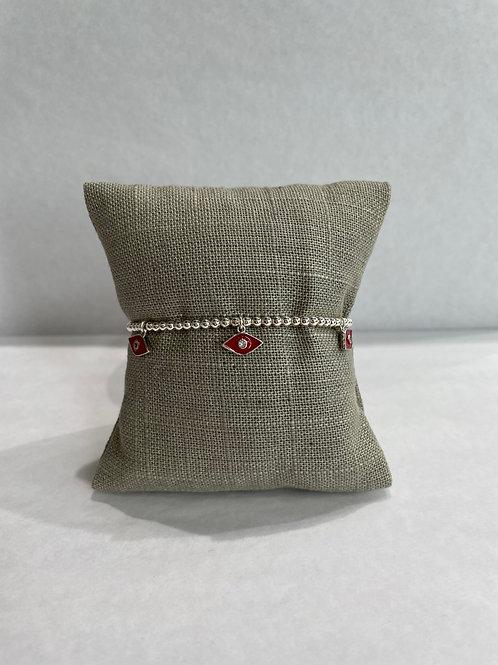 Jocelyn Kennedy Silver Enamel Bracelet: Red Charms