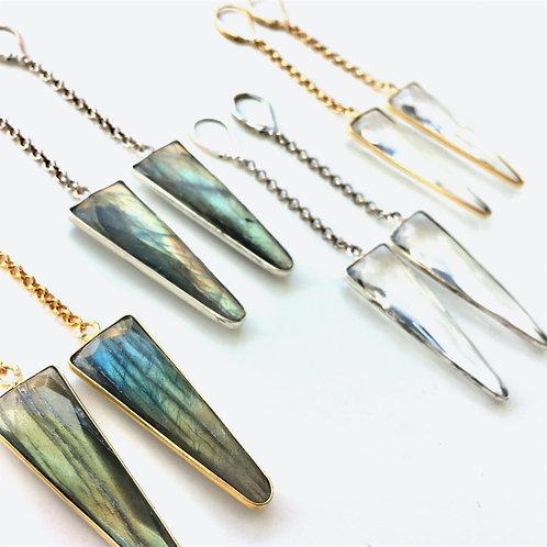 Jocelyn Kennedy Triangle Stone Drop Earrings