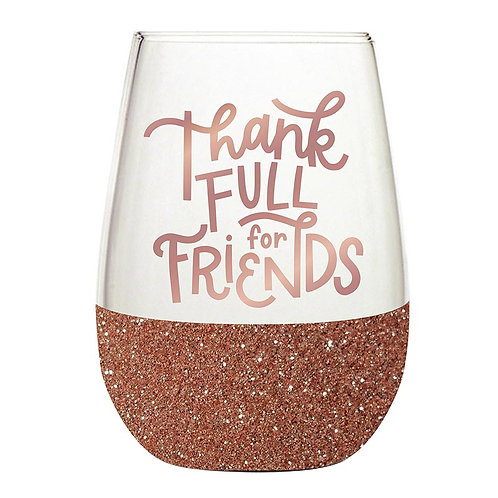 Thankfull for Friends Wine Glass