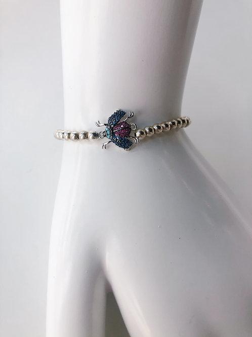 Jocelyn Kennedy Silver Beaded Pink and Blue Crystal Bee Bracelet