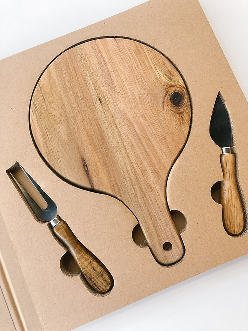 Wood Paddle Cheese Board Set