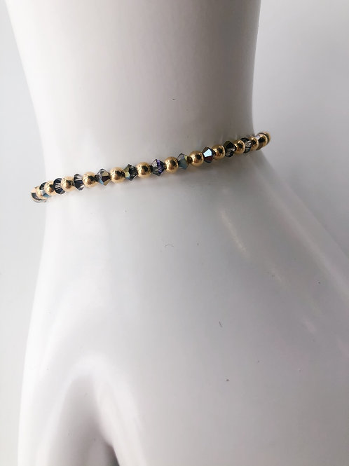 Jocelyn Kennedy Gold Bead and Dark Grey Crystal Bracelet
