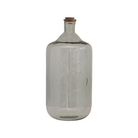 Recycled Glass Bottle With Cork and Embossed Number 3
