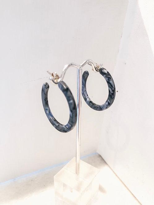 Jocelyn Kennedy Dark Blue Acrylic Hoops-Small