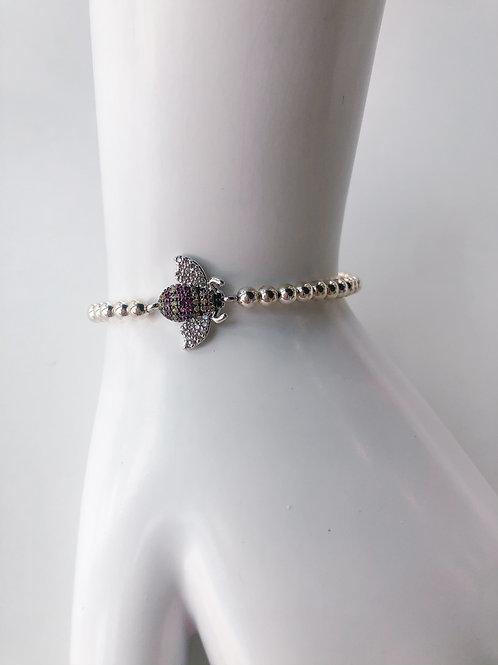 Jocelyn Kennedy Silver Beaded Pink Crystal Bee Bracelet