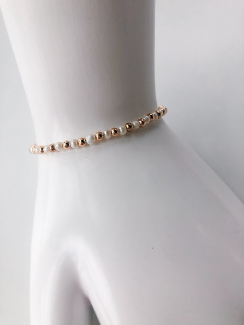 Jocelyn Kennedy Rose Gold Bead and Pearl Bracelet