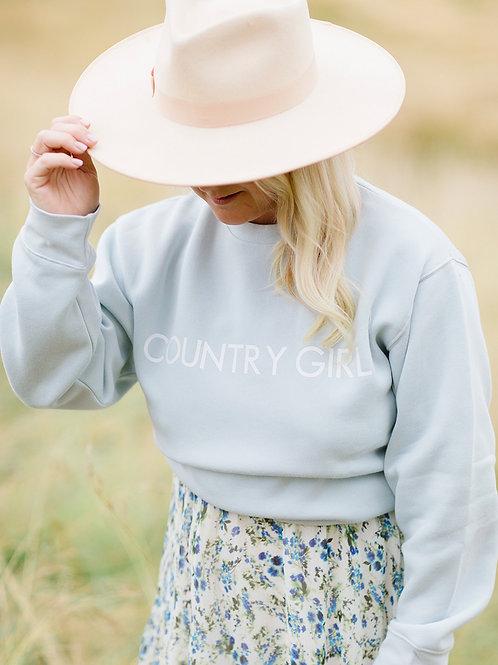 Brunette The Label x Monica Hibbs Country Girl Classic Crew- Summer Sky