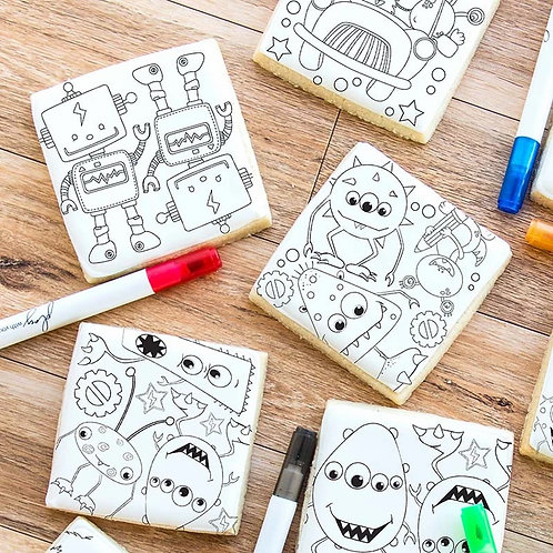 By Sweetness Monster, Robot And Alien Colouring Cookies