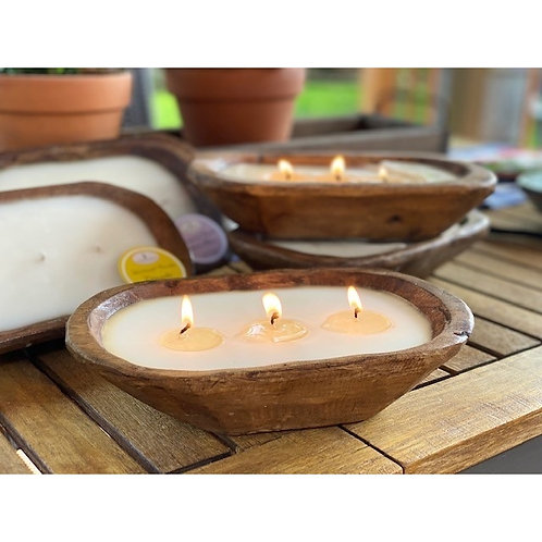 Petite Carved Bowl With Hand Poured Candle- Natural Wood