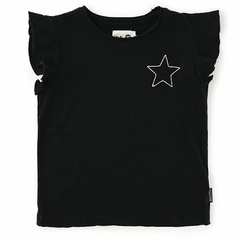 nununu Black Embroidered Star Ruffled Shirt