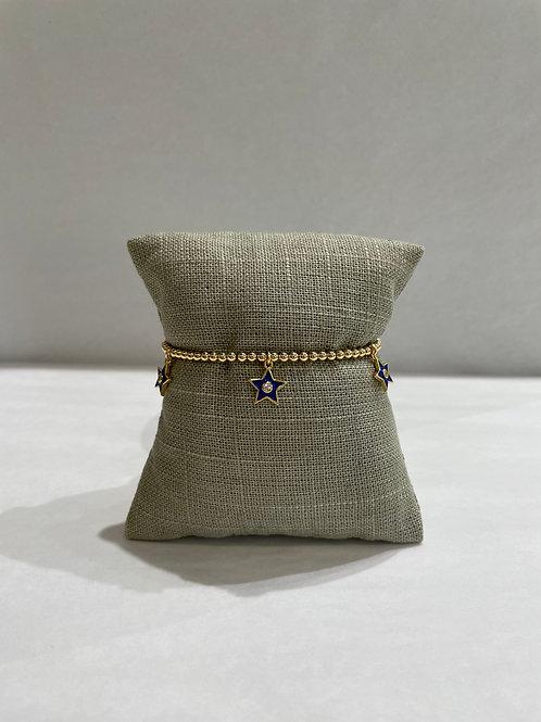 Jocelyn Kennedy Gold Enamel Bracelet: Navy Charms