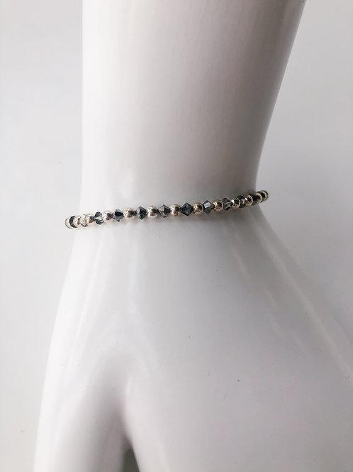 Jocelyn Kennedy Silver Beaded Dark Grey Crystal Bracelet