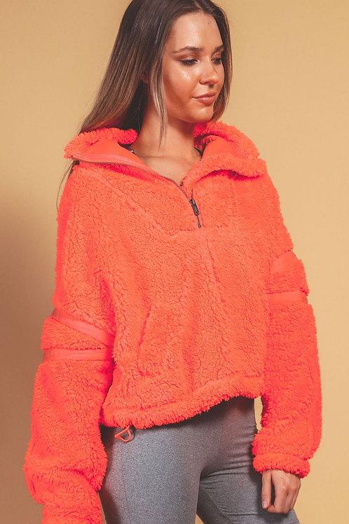 Free People Nantucket Fleece Sweater Neon Coral