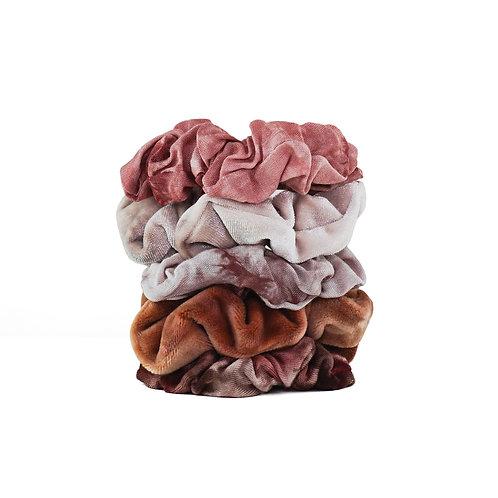 Kitsch Rust Tie Dye Scrunchie Set of 5
