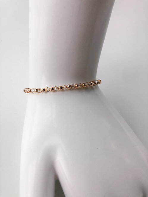 Jocelyn Kennedy Rose Gold Bead and Champagne Crystal Bracelet