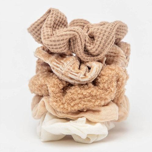 Kitsch Assorted Textured Scrunchies 5 Pack- Sand
