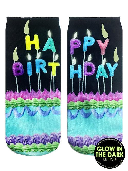 Living Royal Glow in the Dark Happy Birthday Ankle Sock