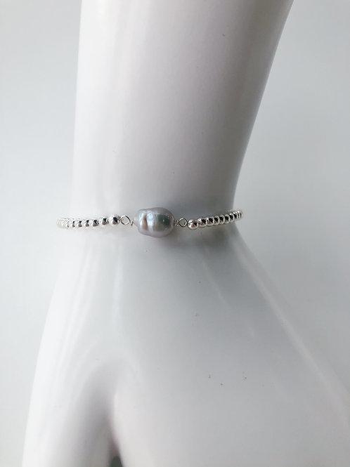 Jocelyn Kennedy Silver Beaded Small Baroque Grey Pearl Bracelet