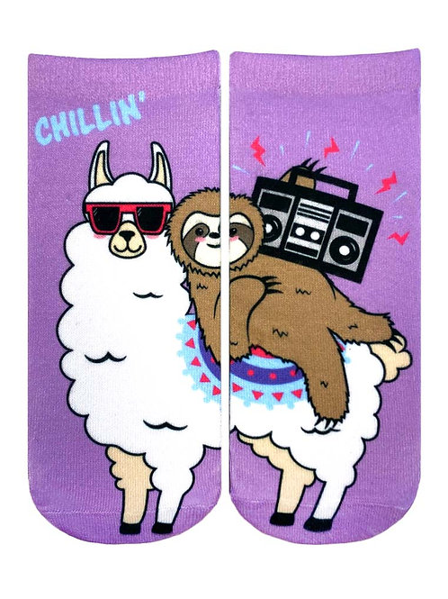 Living Royal Chillin Llama Sloth Ankle Sock