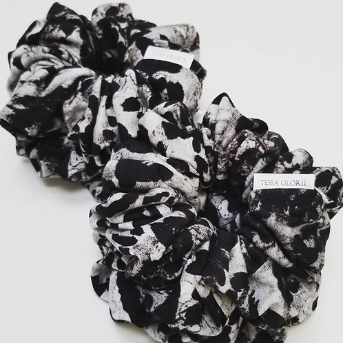 Tessa Glorie Black and White Cheetah Scrunchie