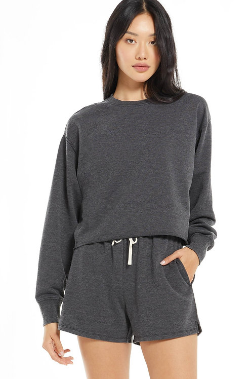 Z Supply Claire Boxy Sweatshirt- Black