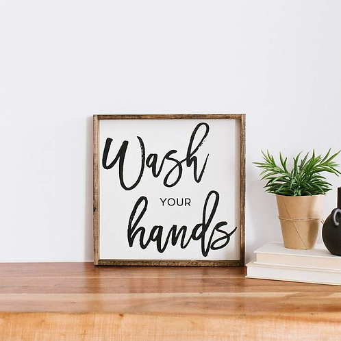 William Rae Wash Your Hands Sign Dark Walnut
