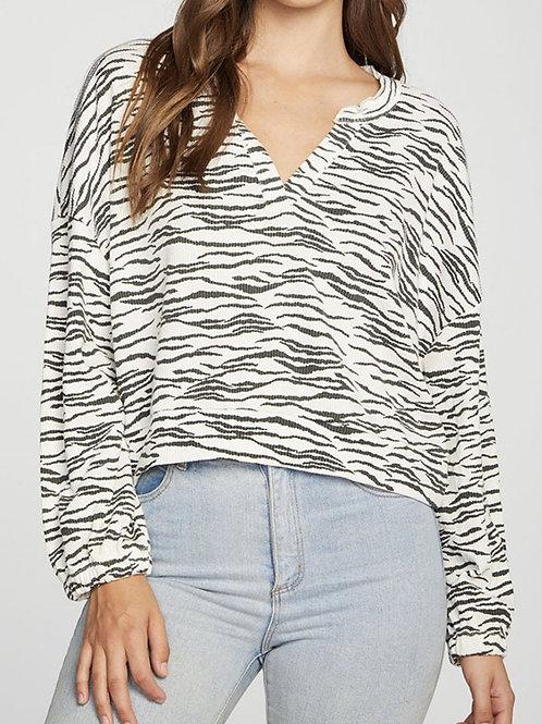 Chaser Zebra Print V Neck Pullover