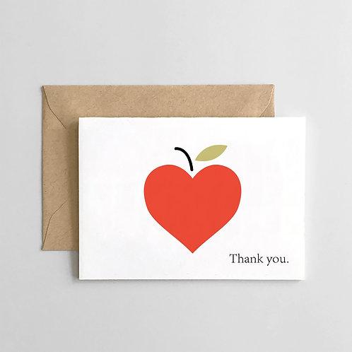 Teacher Appreciation - Thank You Apple Heart Card