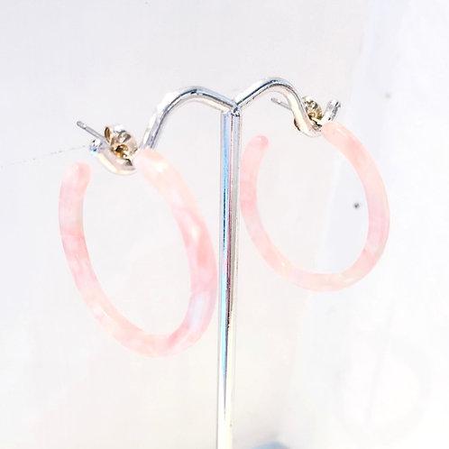 Jocelyn Kennedy Light Pink Acrylic Hoops- Small