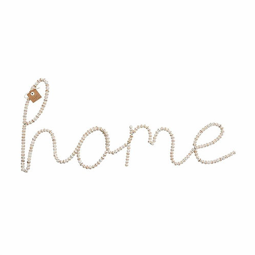Mudpie Beaded Wood Home Wall Art