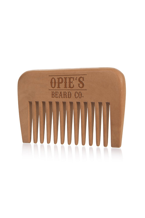 Wide Toothed Peach Wood Beard Comb